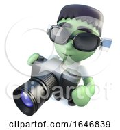 3d Funny Cartoon Frankenstein Halloween Monster Holding A Camera