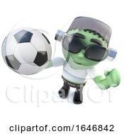 3d Funny Cartoon Frankenstein Monster Holding A Soccer Ball