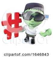 3d Funny Cartoon Frankenstein Monster Character Holding A Hashtag Symbol