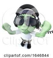3d Funny Cartoon Frankenstein Monster Character Wearing Headphones To Listen To Music