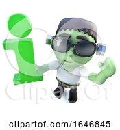 3d Funny Cartoon Frankenstein Monster Character Holding An Information Symbol