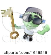 3d Funny Cartoon Frankenstein Monster Character Holding A Gold Key