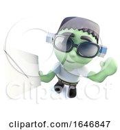 3d Funny Cartoon Frankenstein Monster Character Holding An Envelope