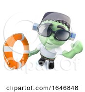 3d Funny Cartoon Frankenstein Monster Character Holding A Life Ring