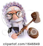 3d Funny Cartoon Judge Character Holding A Gavel