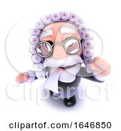 3d Funny Cartoon Judge Character Waving Hello
