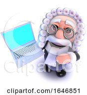 3d Funny Cartoon Judge Character Holding A Laptop Pc Device