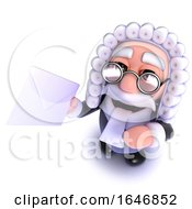 3d Funny Cartoon Judge Character Holding An Envelope Message