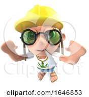 Poster, Art Print Of 3d Funny Cartoon Hippy Stoner Character Wearing A Construction Hard Hat