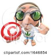 Poster, Art Print Of 3d Funny Cartoon Hippy Stoner Character Holding A Copyright Symbol