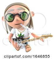 Poster, Art Print Of 3d Funny Cartoon Hippy Stoner Character Playing An Electric Guitar