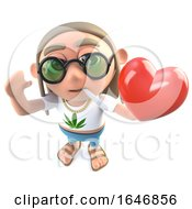 3d Funny Cartoon Hippy Stoner Character Holding A Romantic Red Heart For Valentines Day