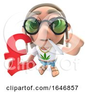 Poster, Art Print Of 3d Funny Cartoon Hippy Stoner Character Holding A Uk Pounds Currency Symbol