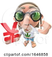 Poster, Art Print Of 3d Funny Cartoon Hippy Stoner Character Holding A Yen Currency Symbol