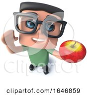 3d Funny Cartoon Nerd Geek Hacker Character Holding An Apple