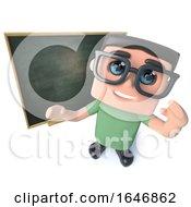 3d Funny Cartoon Geek Nerd Hacker Character Standing In Front Of A Blackboard