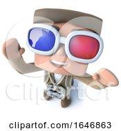 3d Funny Cartoon Explorer Adventurer Wearing 3d Glasses