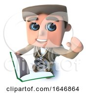 3d Funny Cartoon Hiker Adventurer Character Reading A Book