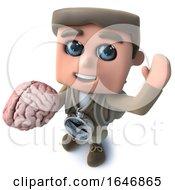 3d Funny Cartoon Hiker Adventurer Character Holding A Human Brain