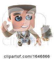 3d Funny Cartoon Explorer Adventurer Holding A Broom And Waving