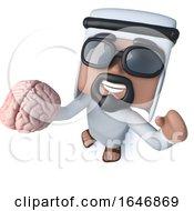 3d Funny Cartoon Arab Sheik Character Holding A Human Brain