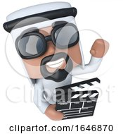 3d Funny Cartoon Arab Sheik Character Holding A Movie Maker Clapperboard