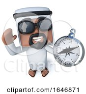 3d Funny Cartoon Arab Sheik Character Holding A Compass