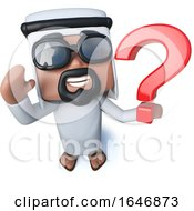 3d Funny Cartoon Arab Sheik Holding A Question Mark Symbol