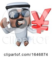 3d Funny Cartoon Arab Sheik Holding A Yen Currency Symbol