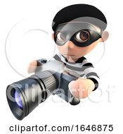 3d Funny Cartoon Burglar Thief Character Taking A Photo With A Camera