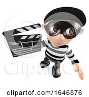 3d Funny Cartoon Burglar Thief Character Holding A Movie Makers Clapperboard
