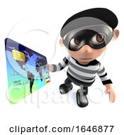 3d Funny Cartoon Burglar Thief Character Paying With A Credit Card