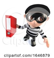 3d Funny Cartoon Burglar Thief Character Stealing A Folder Full Of Data