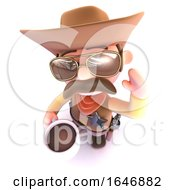 Poster, Art Print Of 3d Funny Cartoon Cowboy Drinking A Cup Of Coffee