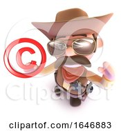 3d Funny Cartoon Cowboy Sheriff Character Holding A Copyright Symbol