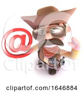 3d Funny Cartoon Cowboy Sheriff Character Holding An Email Address Symbol