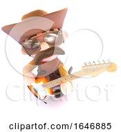3d Funny Cartoon Cowboy Playing An Electric Guitar