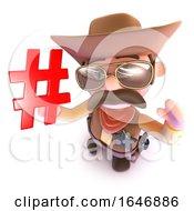 3d Funny Cartoon Cowboy Sheriff Holding A Hashtag Symbol