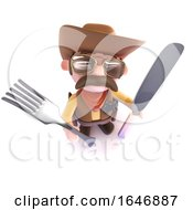 Poster, Art Print Of 3d Funny Cartoon Cowboy Sheriff Holding A Knife And Fork