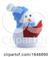 3d Snowman Reading A Book