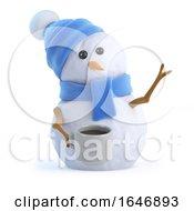 Poster, Art Print Of 3d Snowman Takes A Tea Break