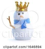 3d Snowman Wears A Golf Crown