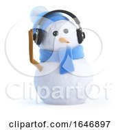 3d Snowman Wearing Headphones