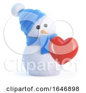 Poster, Art Print Of 3d Snowman Is In Love