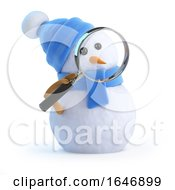 3d Blue Snowman With Magnifying Glass