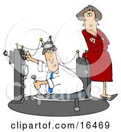 Wife Watching As Her Husband Plays And Experiments In His Time Machine Invention Clipart Illustration Graphic