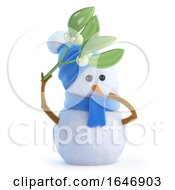 3d Snowman With Mistletoe