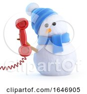 3d Snowman Chatting On The Phone