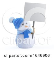 3d Snowman With A Placard by Steve Young