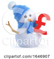 3d Snowman With UK Pounds Sterling Symbol